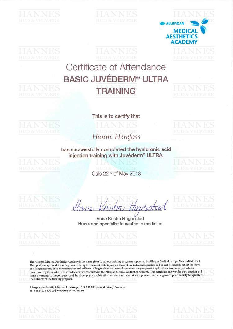 AMI (Allergan Medical Institute): Basic Juvéderm® ULTRA Training – Hyaluronic acid injection training with Juvéderm® ULTRA