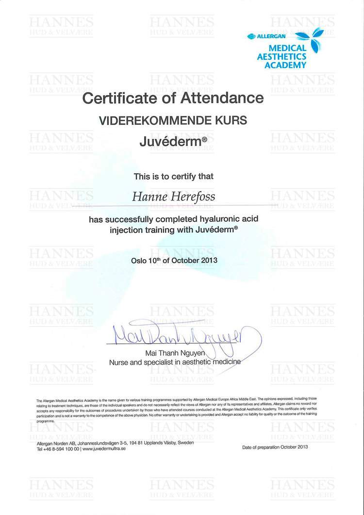 AMI (Allergan Medical Institute): Viderekommende kurs Juvéderm® – Hyaluronic acid injection training with Juvéderm®