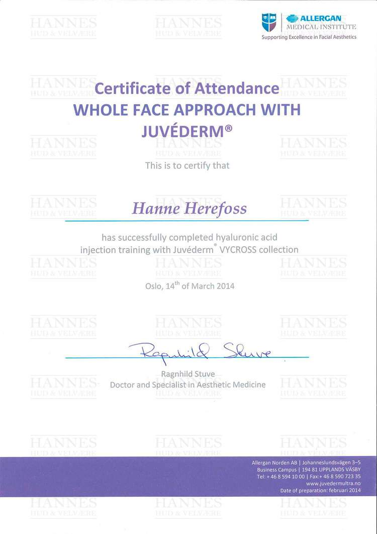 AMI (Allergan Medical Institute): Whole Face Approach with Juvéderm® – Hyaluronic acid injection training with Juvéderm® VYCROSS collection